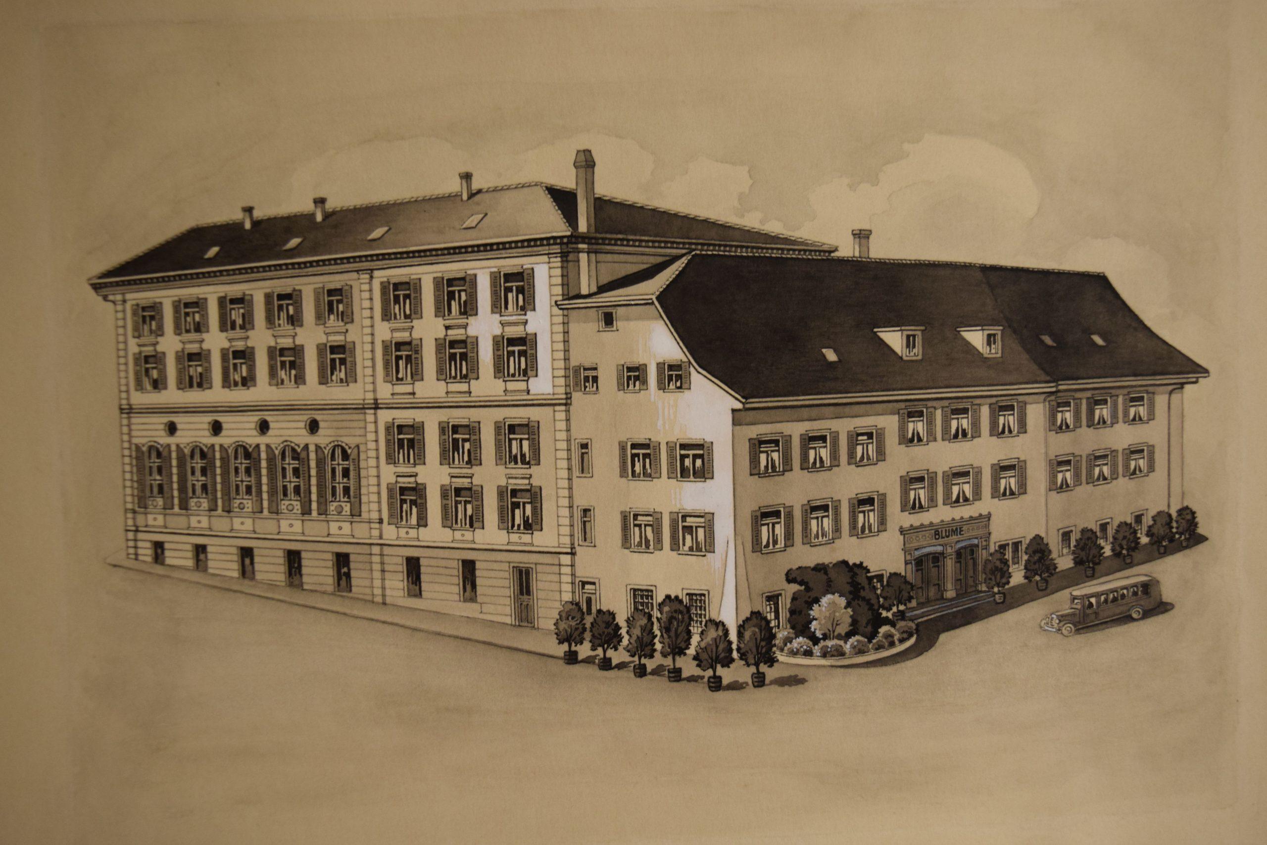 Zeichnung für eine Postkarte aus den 1920er oder 1930er Jahren, Archiv Hotel Blume1920er 1930 jahre Archiv Blume