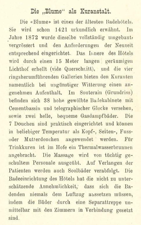 Beschreibung der Kureinrichtung aus einem Hotelprospekt um 1880; Archiv Hotel Blume.