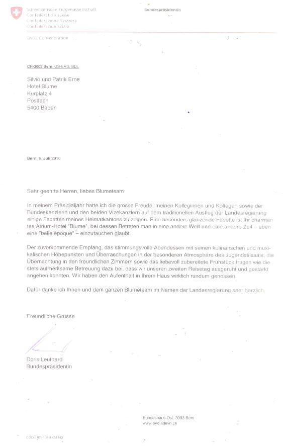 Dankesbrief von Doris Leuthard, Archiv Hotel Blume.
