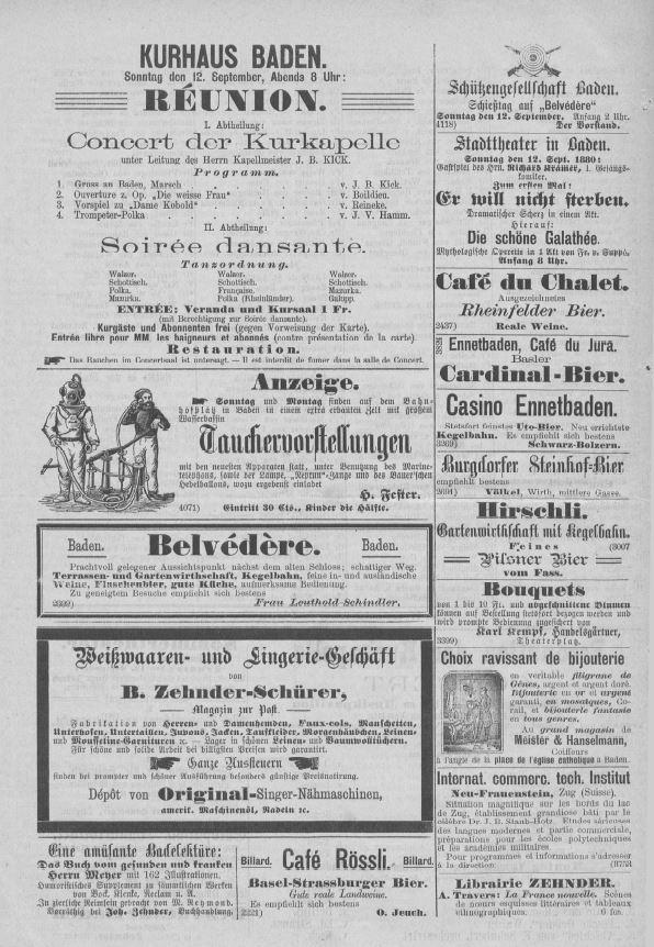 Freizeittipps Inserate in einer Ausgabe des Fremdenblatts von 1880; Stadtarchiv Baden.