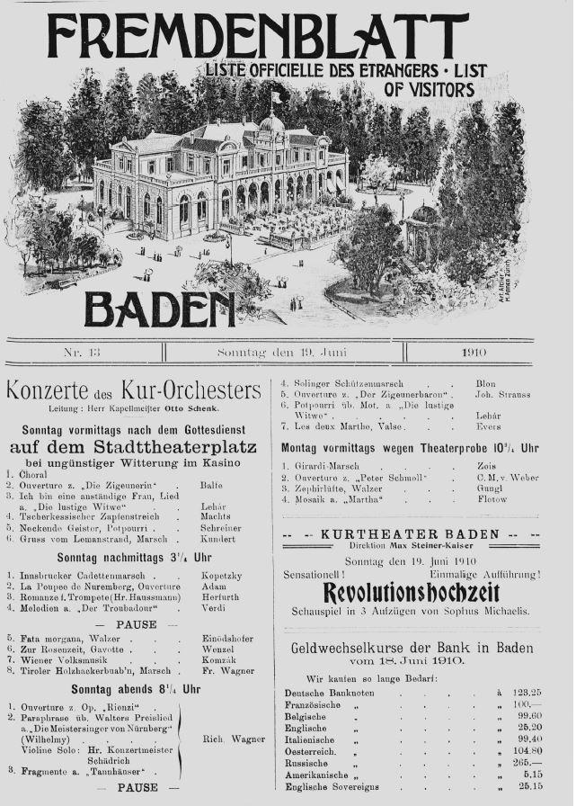 Titelseite des Fremdenblatts vom 19. Juni 1910; Stadtarchiv Baden.