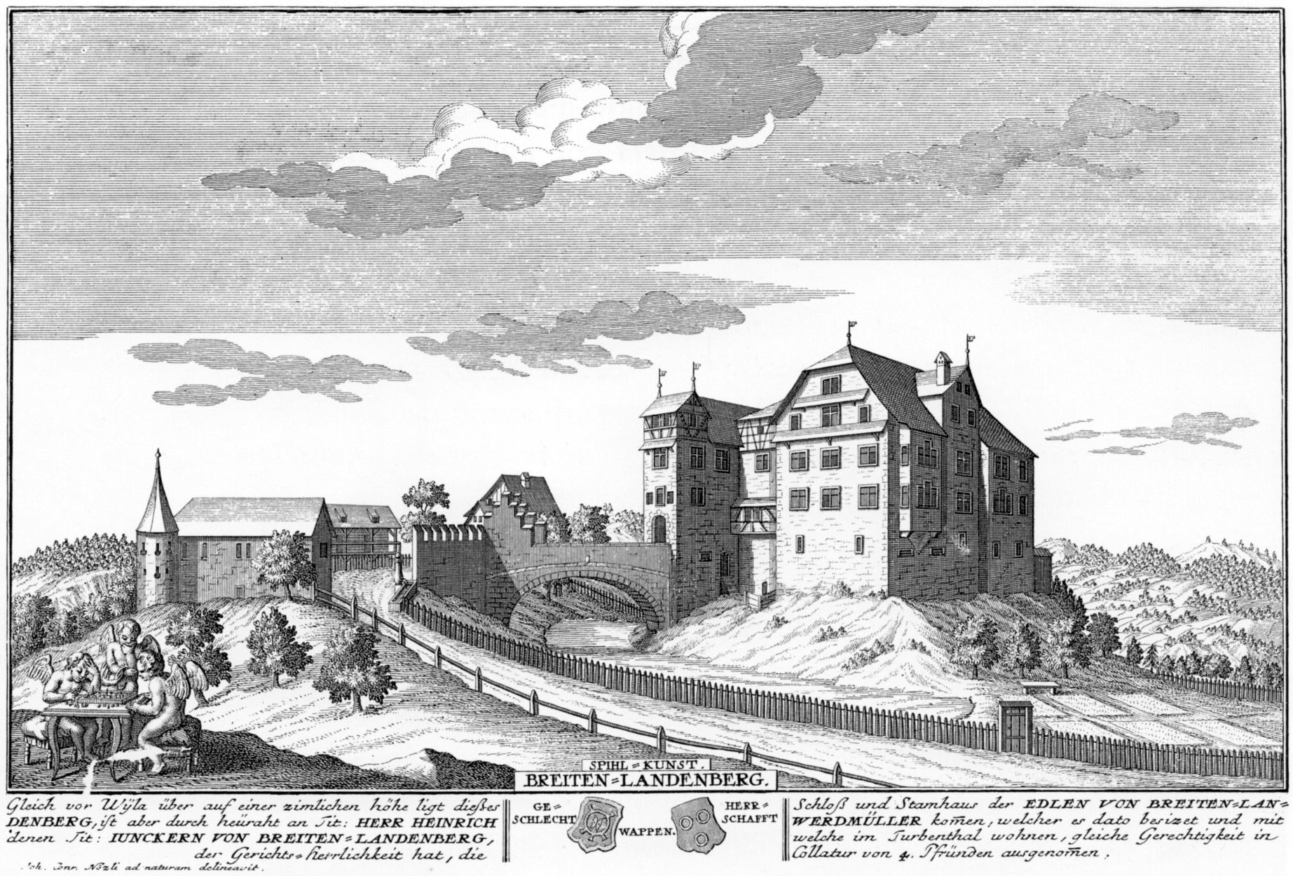 Burg Breitenlandenberg als Zürcher Gerichtsherrensitz, 1742. Radierung von David Herrliberger; Wikipedia.