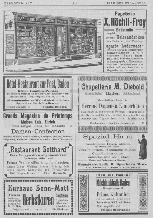 Inserate in einer Ausgabe des Fremdenblatts von 1911; Stadtarchiv Baden.