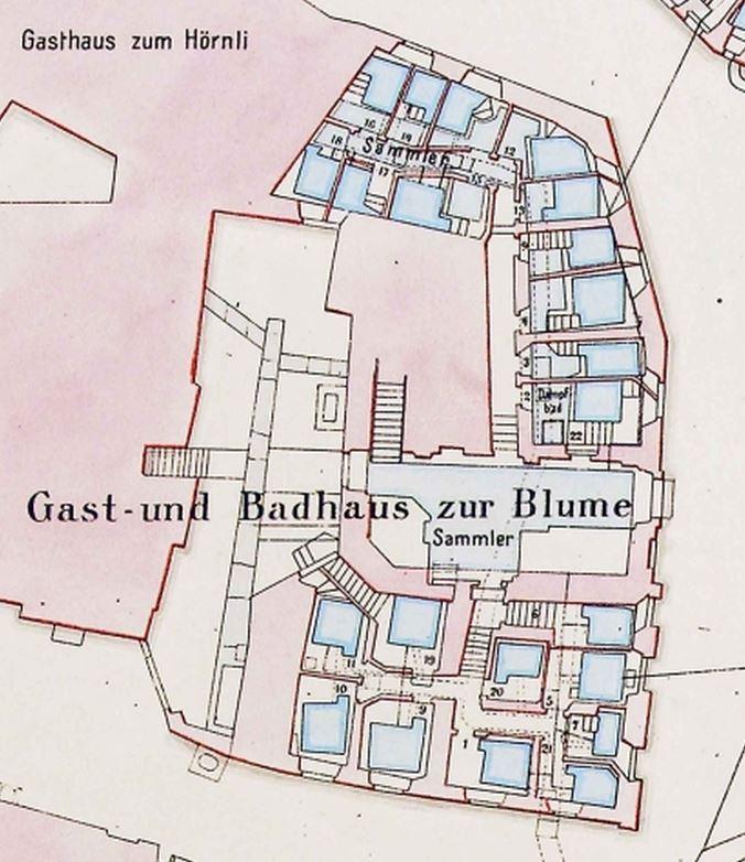 Der Bäderplan Leemann von 1844; Kantonsarchäologie Aargau Reproduktion Ruedi Fischli.