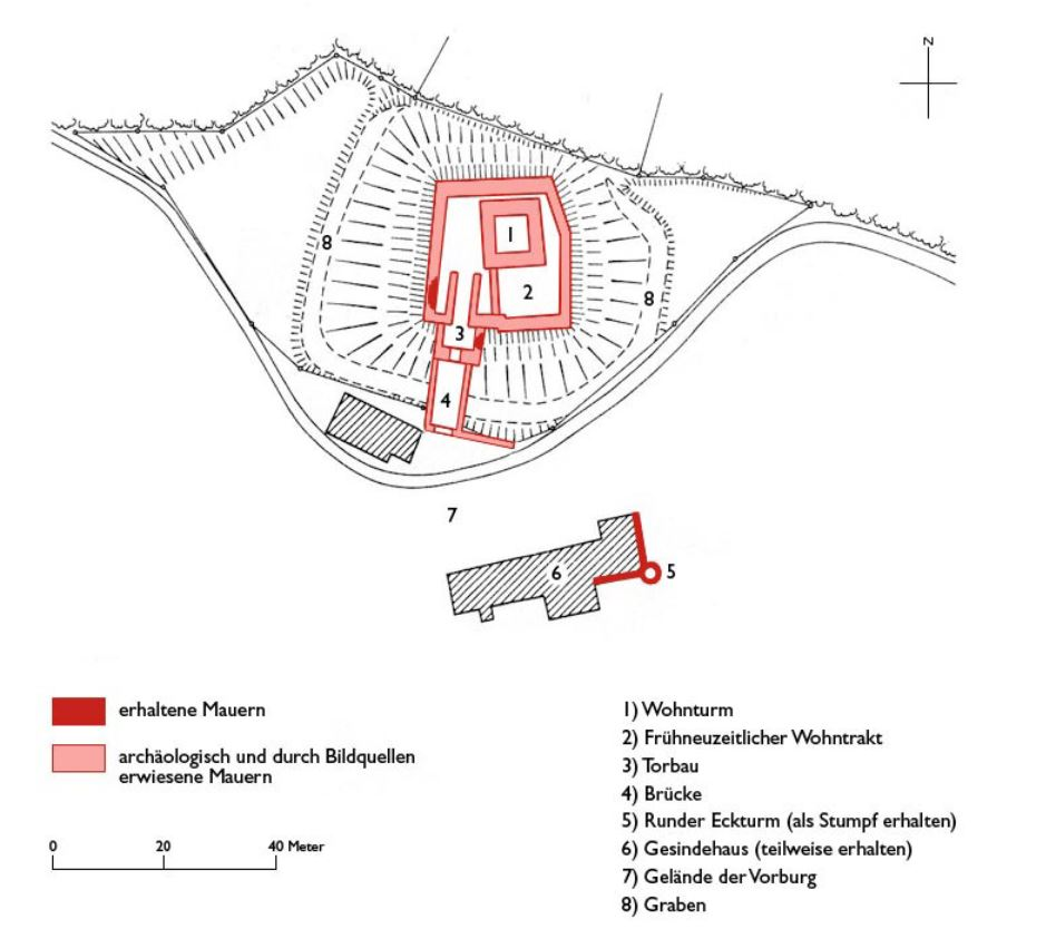 Plan der Burg Breitenlandenberg (heute Ruine); Gubler, Hans Martin - Die Kunstdenkmäler des Kantons Zürich, Bd. VII: 1986, S. 67, überarbeitet und ergänzt von O. Steimann, 2011.