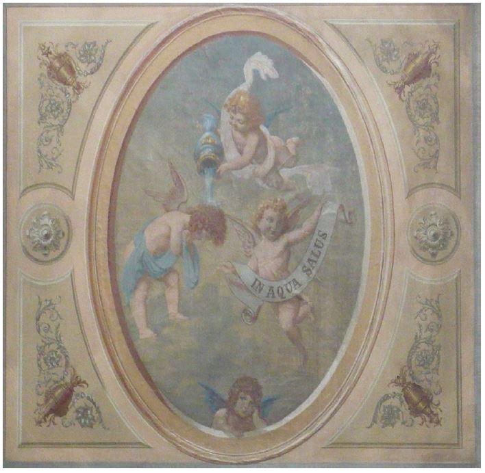 Das Wandbild in Aqua Salus im Atrium (übersetzt: Im Wasser liegt die Gesundheit); Denkmalpflege Aargau.