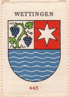 Ehemaliges Gemeindewappen von Wettingen mit einem Weinstock 8bis 1957); Wikipedia.