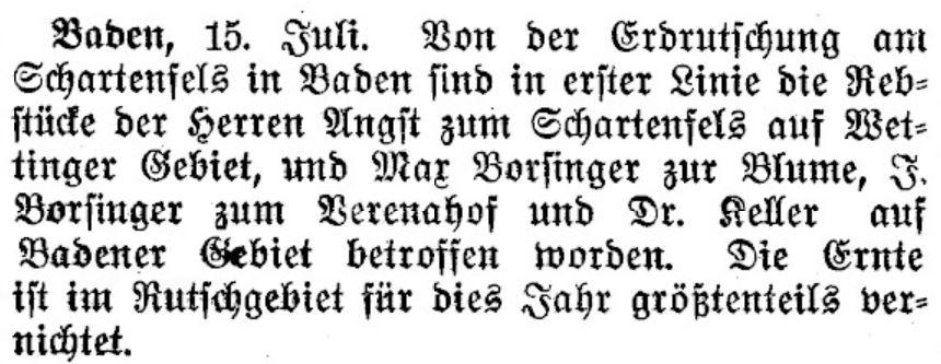 Vernichtung der Weinernte durch Erdrutsch; Neue Zürcher Nachrichten, 16. Juli 1909.