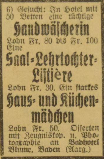 Inserat von 1924, unter anderem für eine Saal-Lehrtochter-Liftière: Lohn Fr. 30; Archiv Hotel Blume.