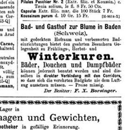 Inserat im Correspondenz-Blatt für Schweizer Ärzte, 15.1.1879.
