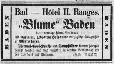 Inserat in der St.Galler Zeitung, kurz nach der Renovation 1873; St. Galler Zeitung, 27.10.1873.